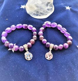 bracelet arbre de vie amethyste pierre rouler et ronde