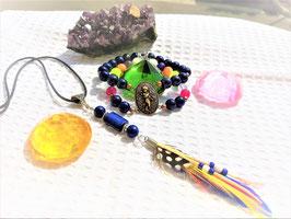 parure lapis bracelet double pendentif plume