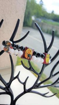 bracelet spirituelle bois de rose tourmaline jade blanc