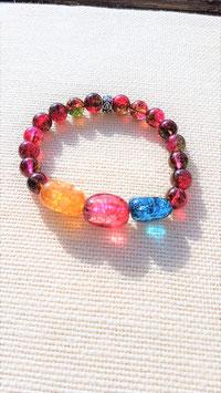 bracelet tourmaline rubelite perle ronde et cailloux tourmaline
