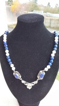 collier entier perle lapis lazuli +agate blanche