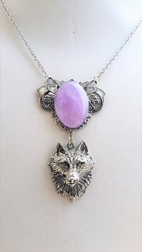 collier tete loup amehyste