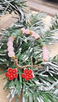 bracelet quartz rose aventurine branche metal dorée emaux