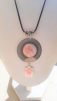 quartz rose pendant rose resine cabochon