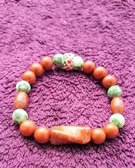 bracelet jaspe rouge et vert