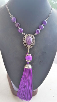 collier amethyste ponpon