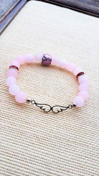 bracelet aile d'ange quartz rose mat
