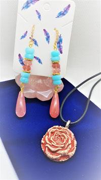 boucle d'oreille rondelle quartz rose opale bleu plaqué or