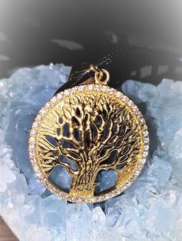 pendentif arbre de vie plaqué or strass 4 cm