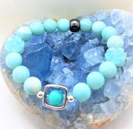 bracelet amazonite perle mat