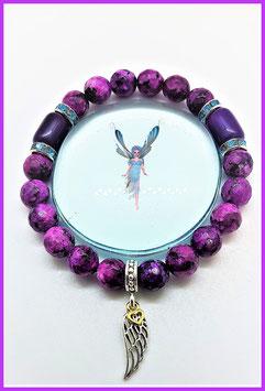 bracelet sugilite plume d'ange argent 925