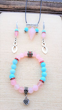 parure 3 pieces amazonite quartz rose