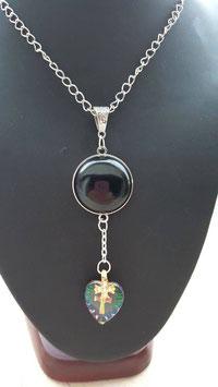 collier spirituelle coeur croix swarovsky