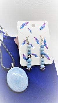 parure opale bleu pendentif boucle d'oreille