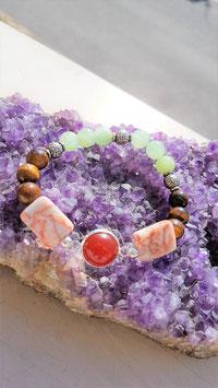 bracelet oeil de tigre onyx rhodonite