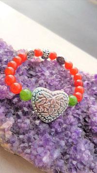 bracelet cornaline aventurine coeur ceramique reku
