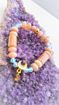 bracelet pierre de lune orangé opaline