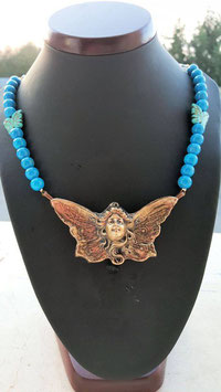collier pierre turquoise fee bronze