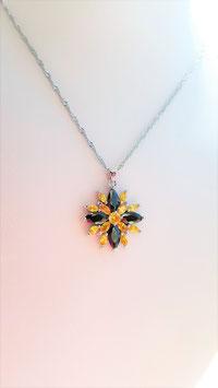collier pendentif argent 925 spinelle citrine