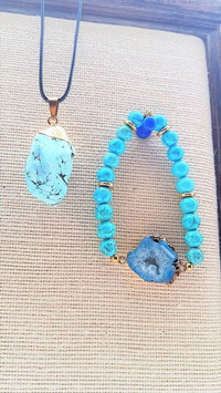 parure turquoise bleu pendentif pierre naturel