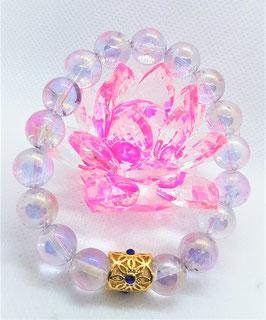 bracelet aqua quartz crystal mauve