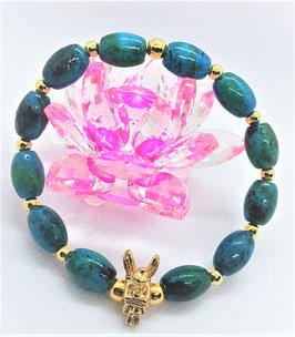 bracelet chrysocolle ange plaqué or