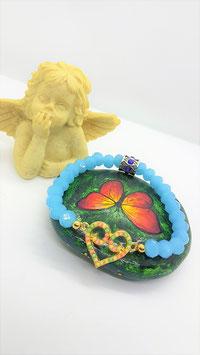 bracelet opale bleu coeur emaux
