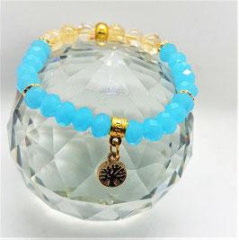 bracelet swarovsky bleu opale citrine arbre de vie
