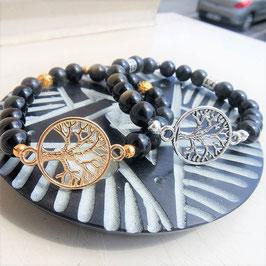 bracelet arbre de vie obsidienne dorée