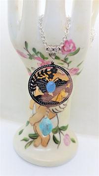 pendentif filigrane papillon amazonite aigue marine