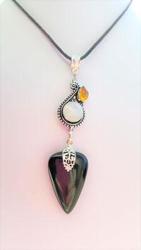 collier pierre onyx pendentif / pendentif argent labradorite blanche et citrine