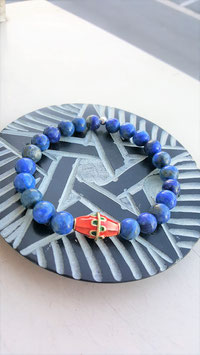bracelet lapis lazuli perle tibetaine rouge metal