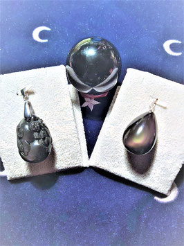 pendentif obsidienne oeil celeste