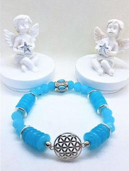 bracelet fleur de vie opale bleu rondelle facette