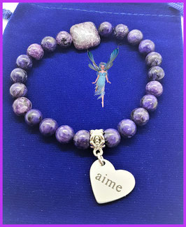 bracelet charoite coeur aime