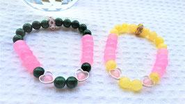 bracelet coeur metal emeraude quarta rose agate jaune