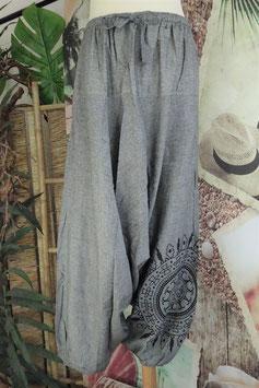 Uni Low Cut Hose mit Mandala Grau GU-30633