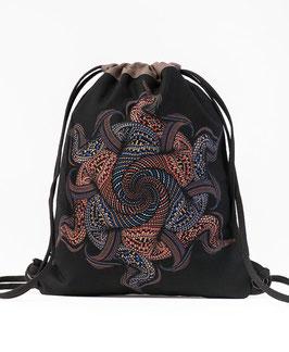 Seed of Life Vortex Black/Grey Drawstring Backpack