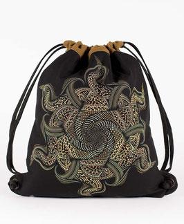 Seed of Life Vortex Black/Khaki Drawstring Backpack