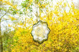 Blume des Lebens Lotus Mobile Ø 25 cm aus Edelstahl
