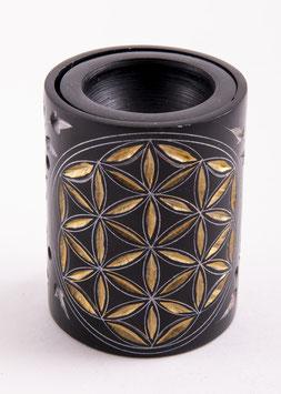Blume des Lebens, ZylinderAromalampe schwarz - gold