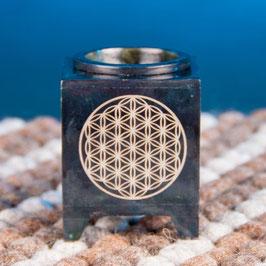 Duftöl Lampe Blume des Lebens schwarz