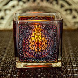 Teelichtglas Blume des Lebens L-80