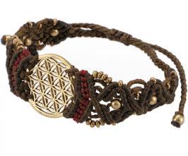 Goa Armband - Blume des Lebens/braun