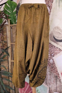 Uni Low Cut Hose mit Mandala Senf GU-30633 b