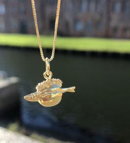 Fischbrötchen Kettenanhänger vergoldet