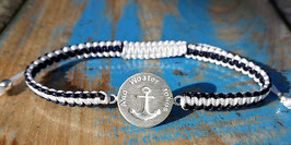 """""And Woater tohus"" Armband Dunkelblau- weiss"