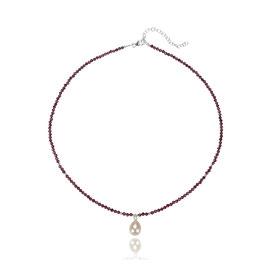 Granat  Collier mit Perle