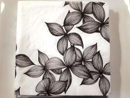 Servietten Blüten schwarz/weiss