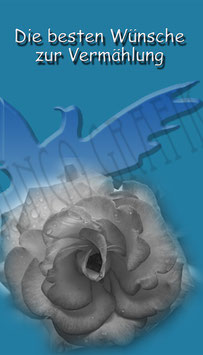 Weinetikette  Hochzeit Taube Rose